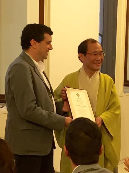 Marco Massarotto receiving the title of Kyoto Cultural Ambassador by Kyoto Mayor Daisaku Kadokawa